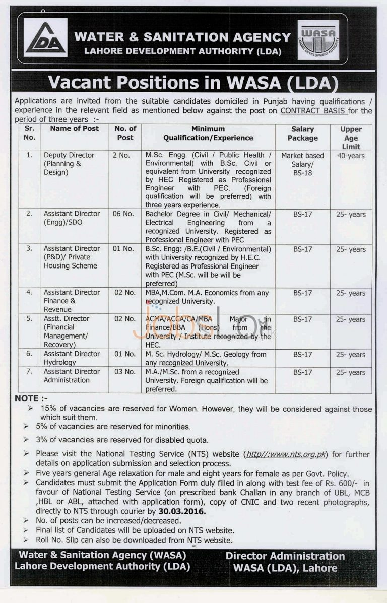WASA Lahore Developmental Authority Jobs 2016 in Lahore NTS Application Form www.nts.org.pk