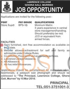 Situations Vacant for Store Superintendant 2016 in Murree Lawrence College