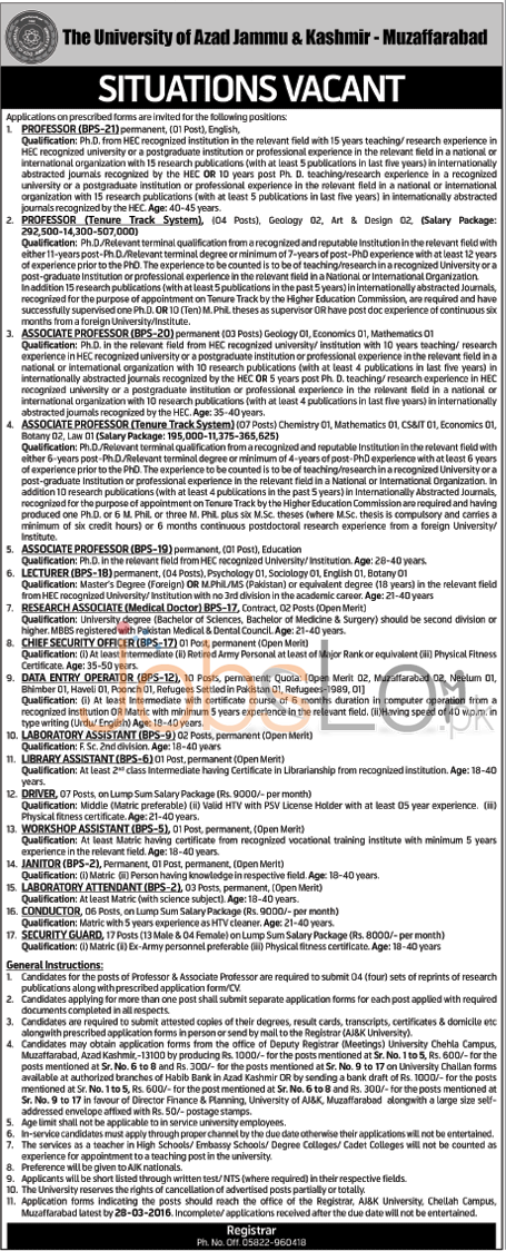 Recruitment Offers in University of AJK 2016 in Muzaffarabad NTS Test For Teaching & Non Teaching Staff