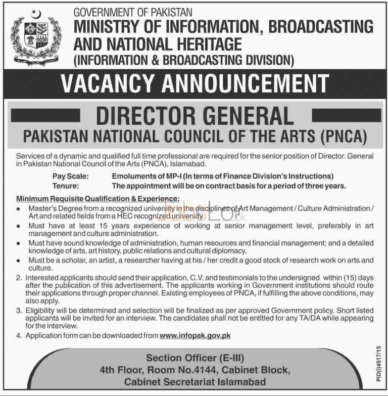 Ministry of Information, Broadcasting & National Heritage Jobs 2016 Islamabad Application Form