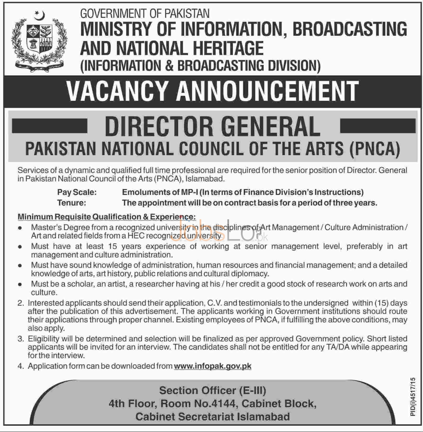 Situations Vacant in Ministry of Information, Broadcasting & National Heritage 2016 in Islamabad Application Form Last Date