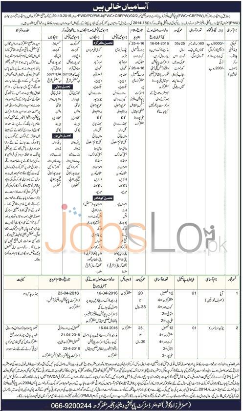 Polulation Welfare Department Muzaffargarh Jobs 2016 Test & Interview Schedule