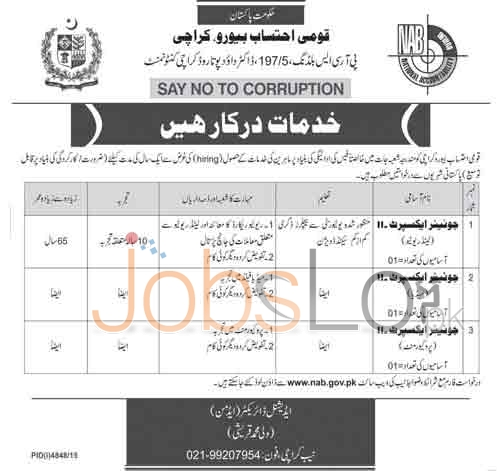 NAB Karachi Jobs 2016 For Junior Experts Application Form Download Online