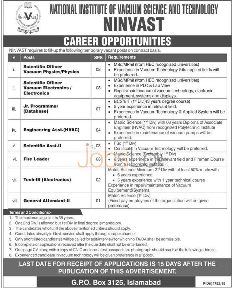 NINVAST Jobs in Islamabad 2016 For Jr Programmer, Scientific Asstt Career Opportunities