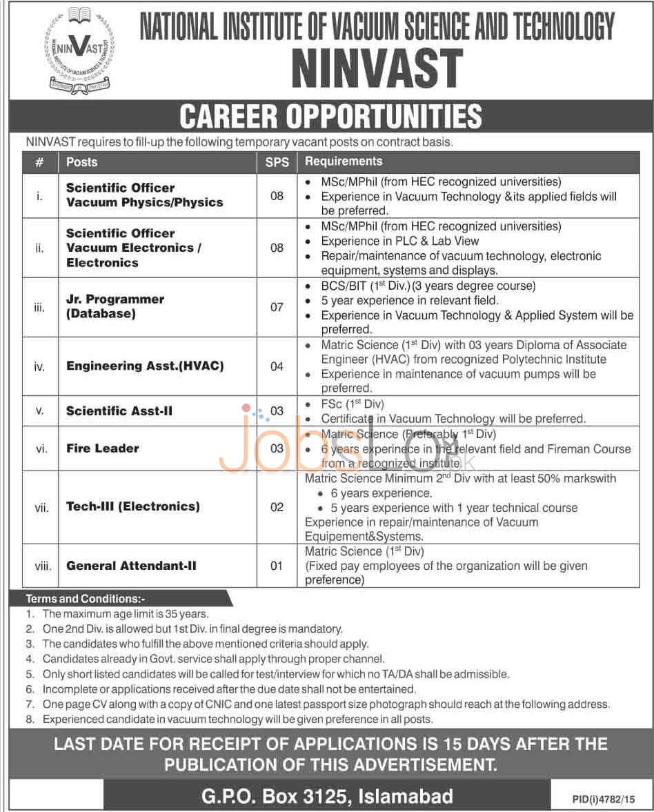 Recruitment Opportunities in NINVAST Islamabad 2016 For Scientific Officer, Jr Programmer Eligibility Criteria
