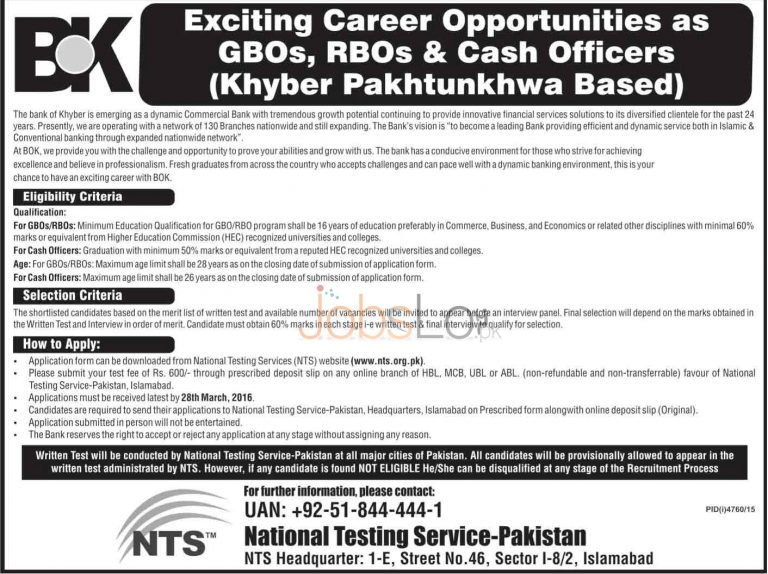 BOK Jobs March 2016 in KPK For GBO'S & RBO's NTS Application Form www.nts.org.pk