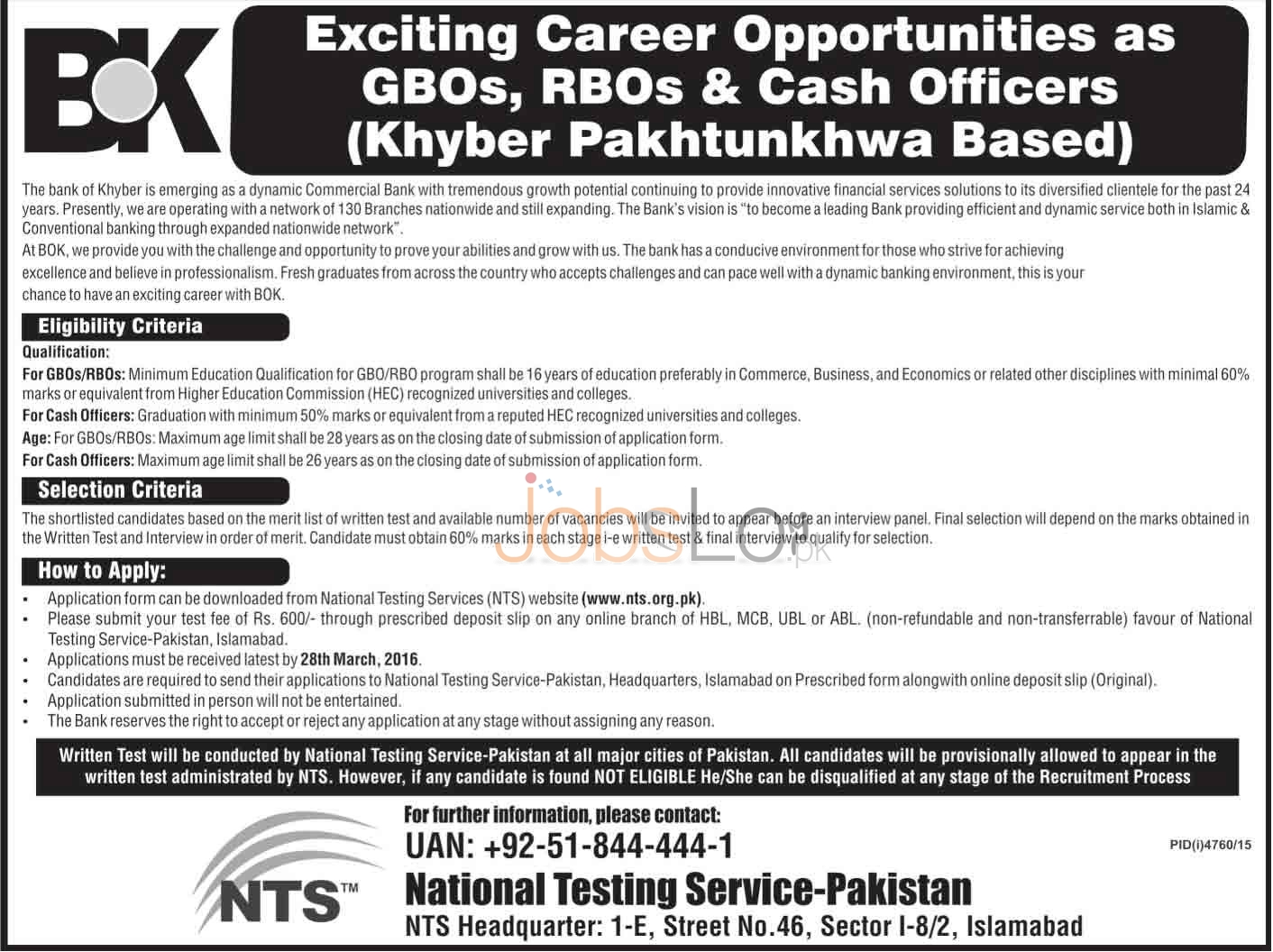 Situations Vacant in BOK 2016 in KPK For GBO's & RBO's NTS Application Form Last Date