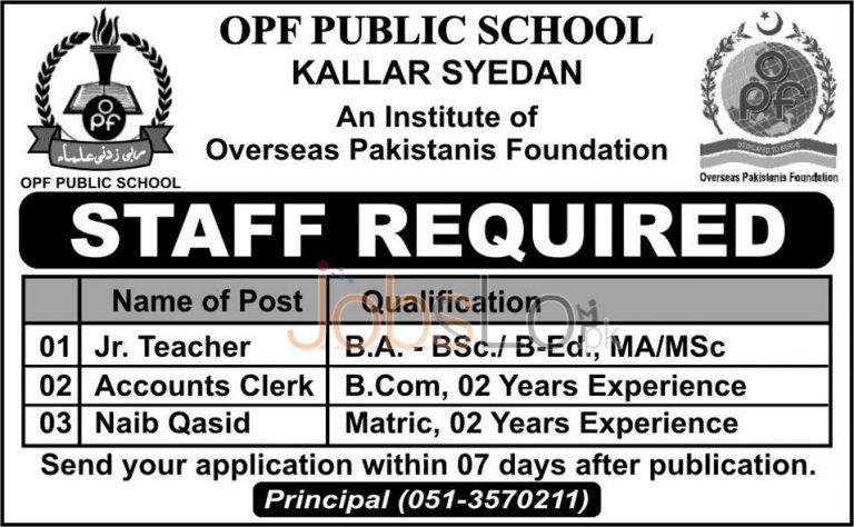 OPF Public School Kallar Syedan Jobs 2016 Staff Required
