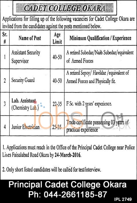 Cadet College Okara Jobs 2016 For Asst Security Supervisor Lab Asst & Security Guard Latest