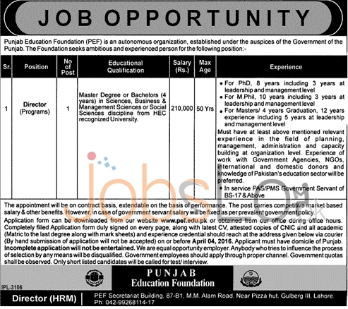 Situations Vacant for Director 2016 in PEF Lahore Application Form Download Online