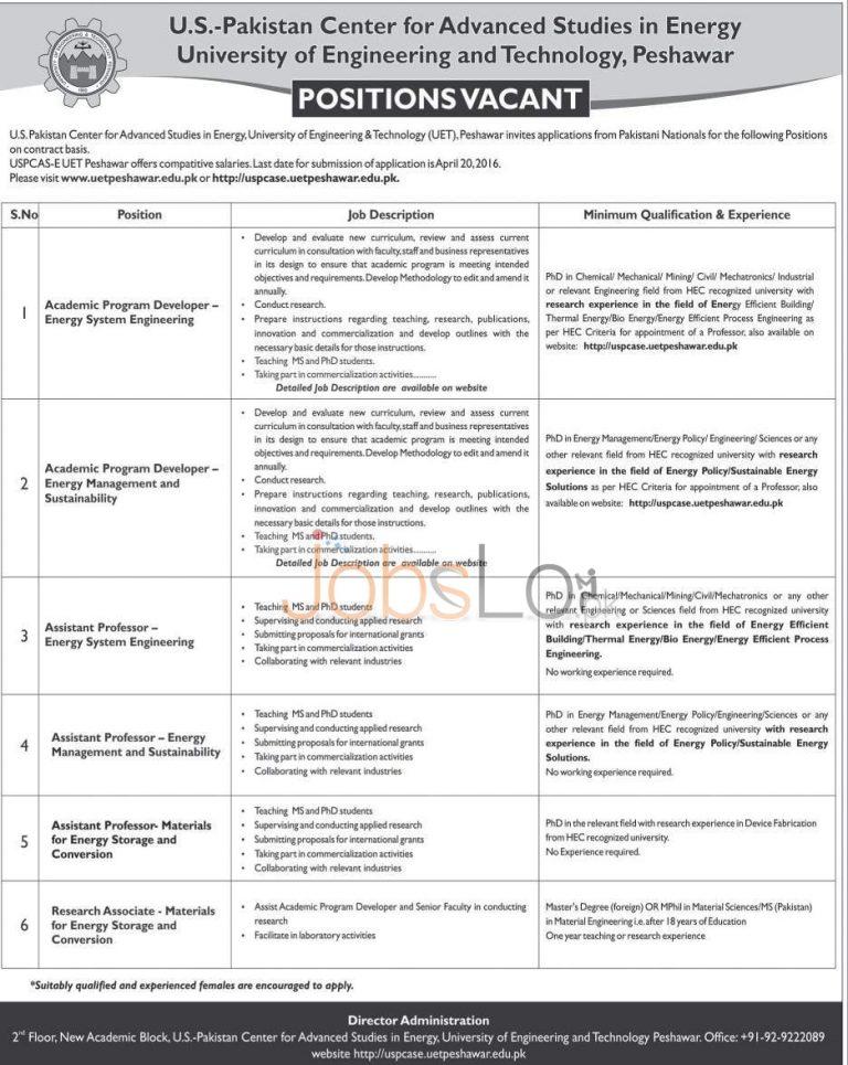 UET Peshawar Jobs 29 March 2016 Application Form Download Online
