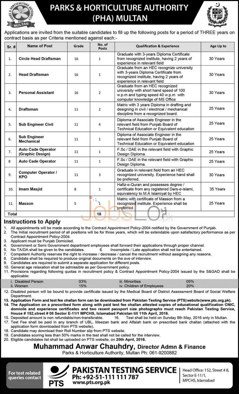 PHA Multan Jobs 27 March 2016 PTS Application Form Download Online