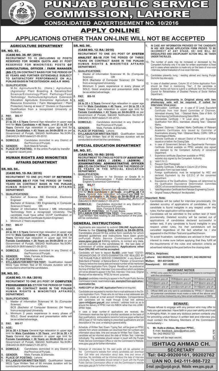 PPSC Lahore Jobs 20 March 2016 Apply Online Last Date www.ppsc.gop.pk
