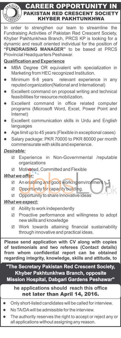 Pakistan Red Crescent Society KPK Jobs 2016 For Fundraising Manager Latest