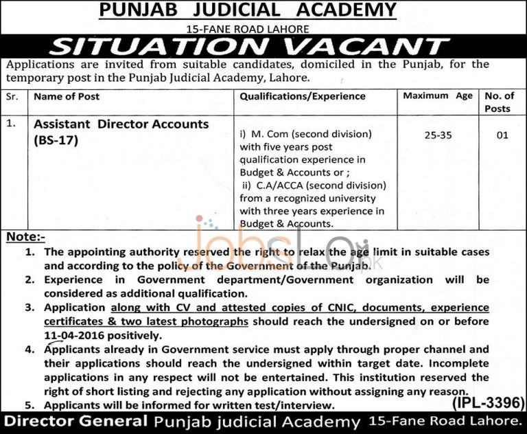 Punjab Judicial Academy Lahore Jobs 25 March 2016 For Asstt Director Accounts Latest