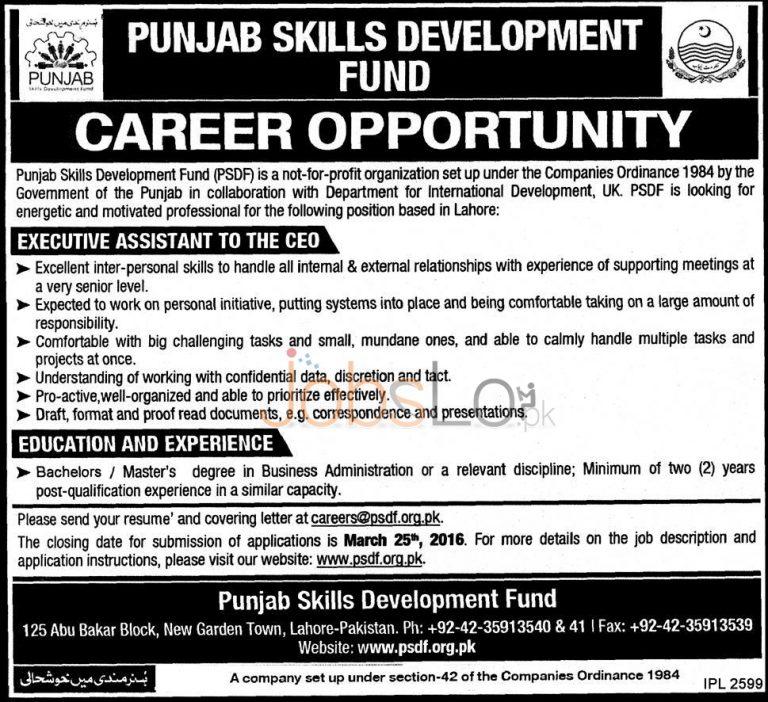 Punjab Skills Development Fund Jobs 08 March 2016 in Lahore Apply Online