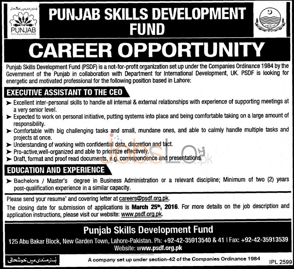 Employment Opportunityies in Punjab Skills Development Fund 08 March 2016 Lahore Eligibility Criteria