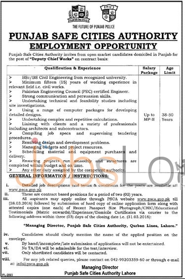 Recruitment Offers in Punjab Safe Cities Authority 17 March 2016 in Lahore Latest Advertisement