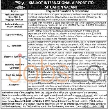 Sialkot International Airport Ltd Jobs 2016 Application Form Online Download