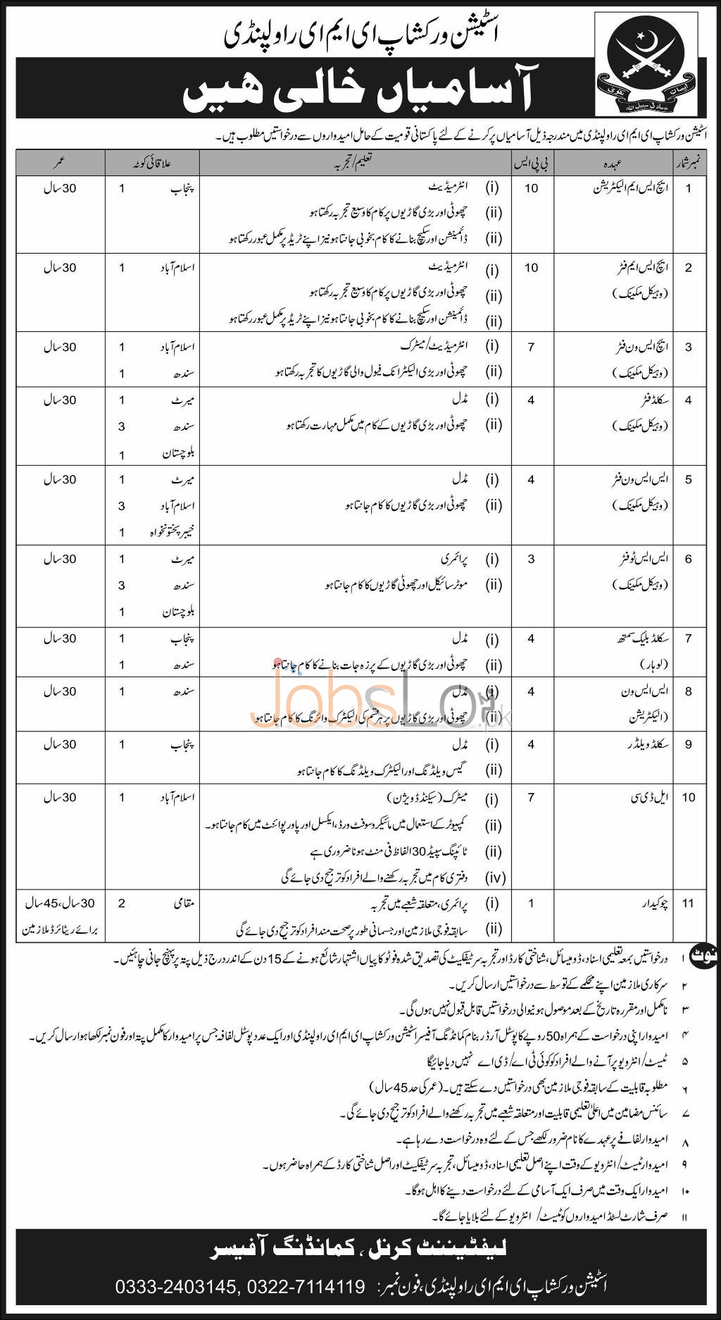 Pakistan Army Jobs in Station Workshop EME Rawalpindi 2016 Vacant Situations