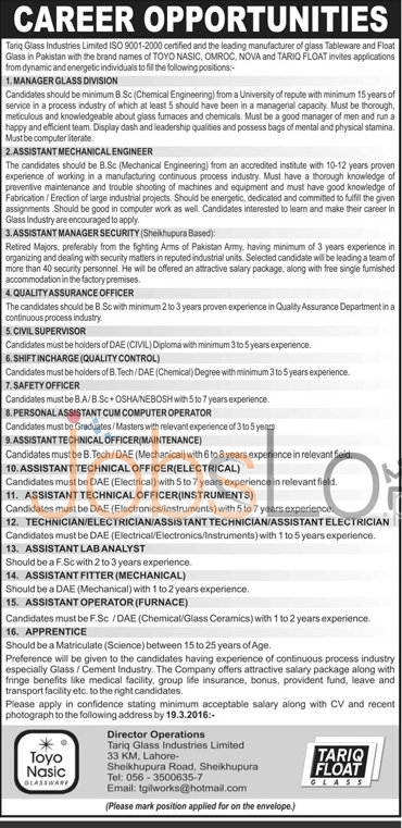Tariq Glass Industries Ltd Jobs 2016 in Lahore For Manager Glass, Asstt Mechanical Engineer Latest