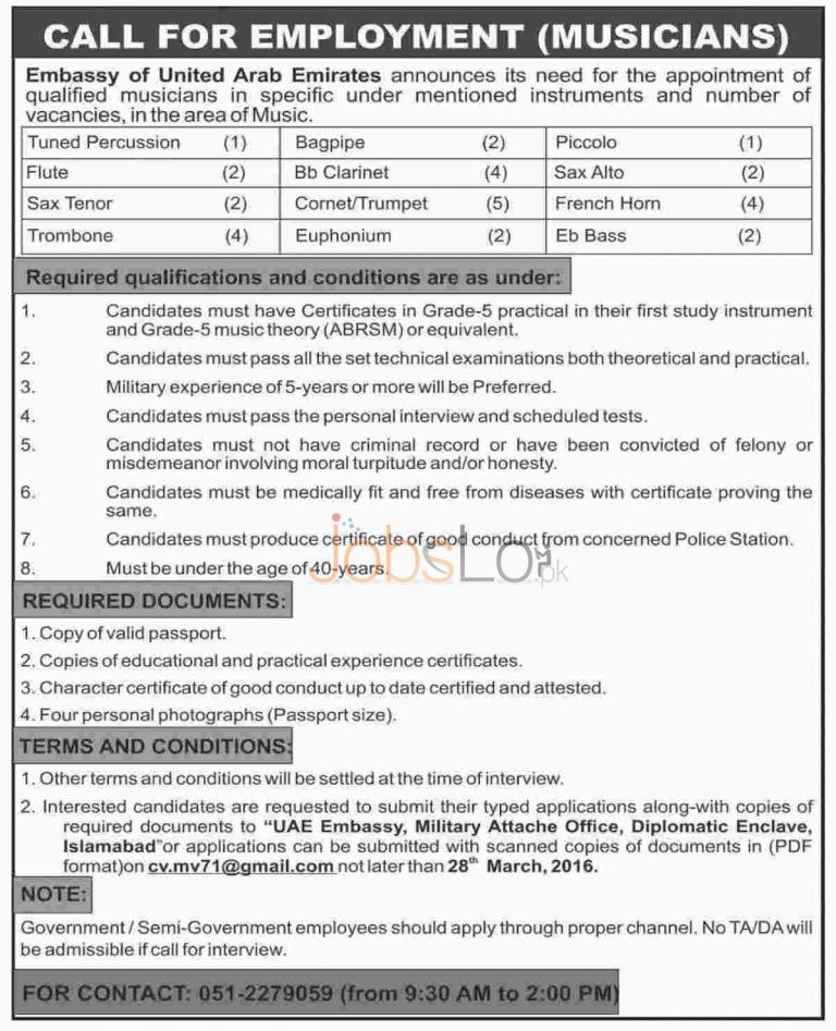 Embassy of UAE Military Jobs 2016 For Musicians Latest Advertisement