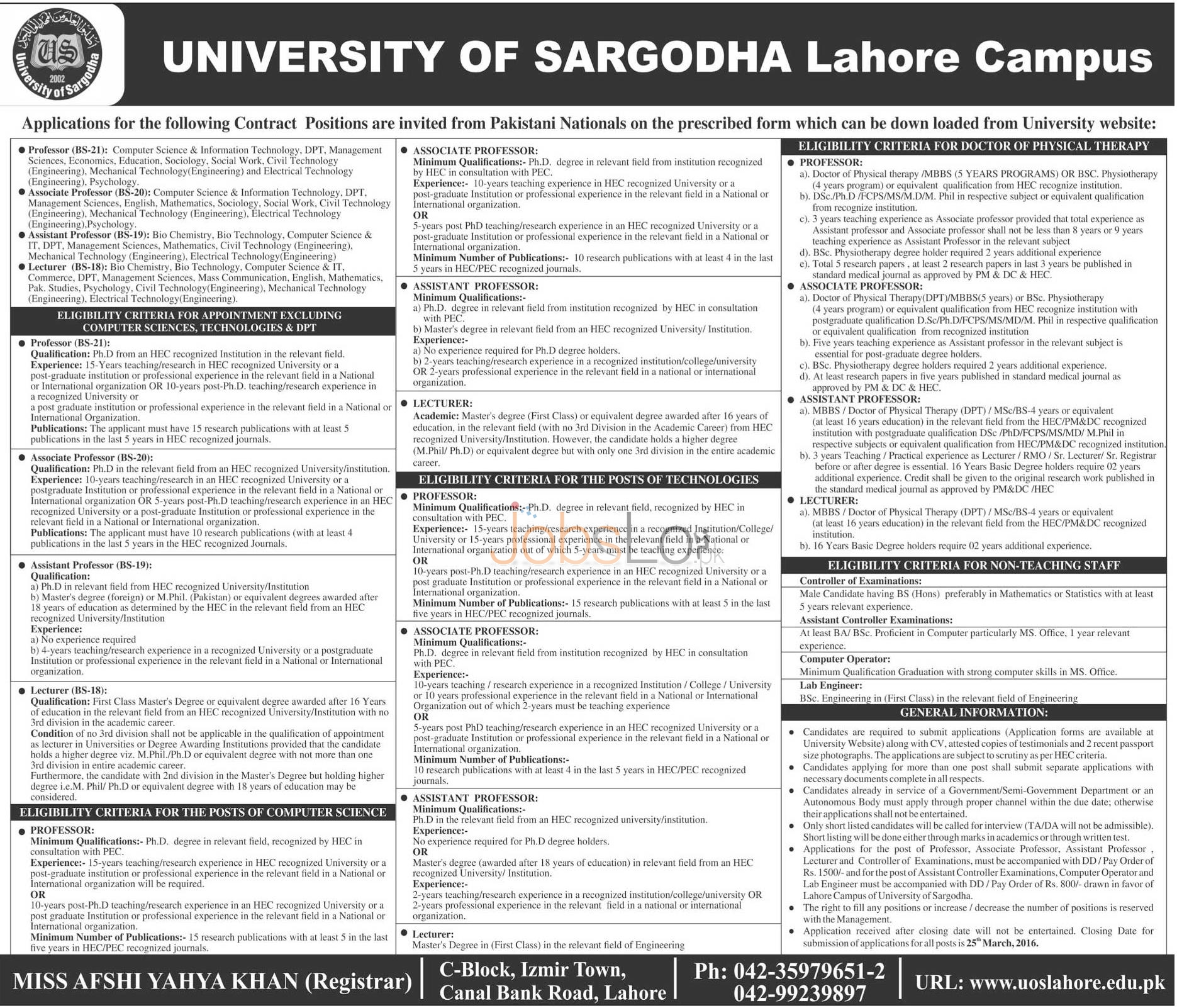 Recruitment Opportunities in University of Sargodha Lahore Campus 13 March 2016 Application Form Last Date