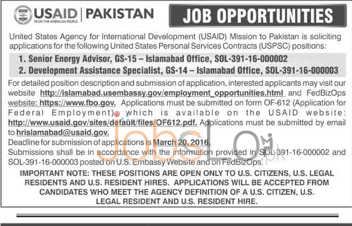 Rceruitment Offers in USAID Islamabad 2016 Application Form Last Date