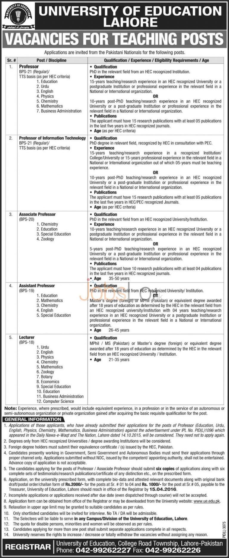 University of Education Lahore 2016 For Teaching Staff Application Form