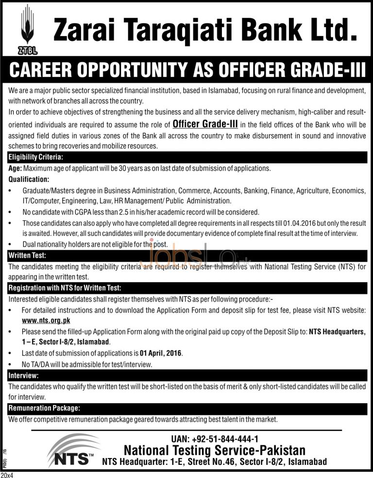 ZTBL Bank Jobs 2016 in Islamabad For Officer Grade-03 NTS Application Form Test & Interview Schedule