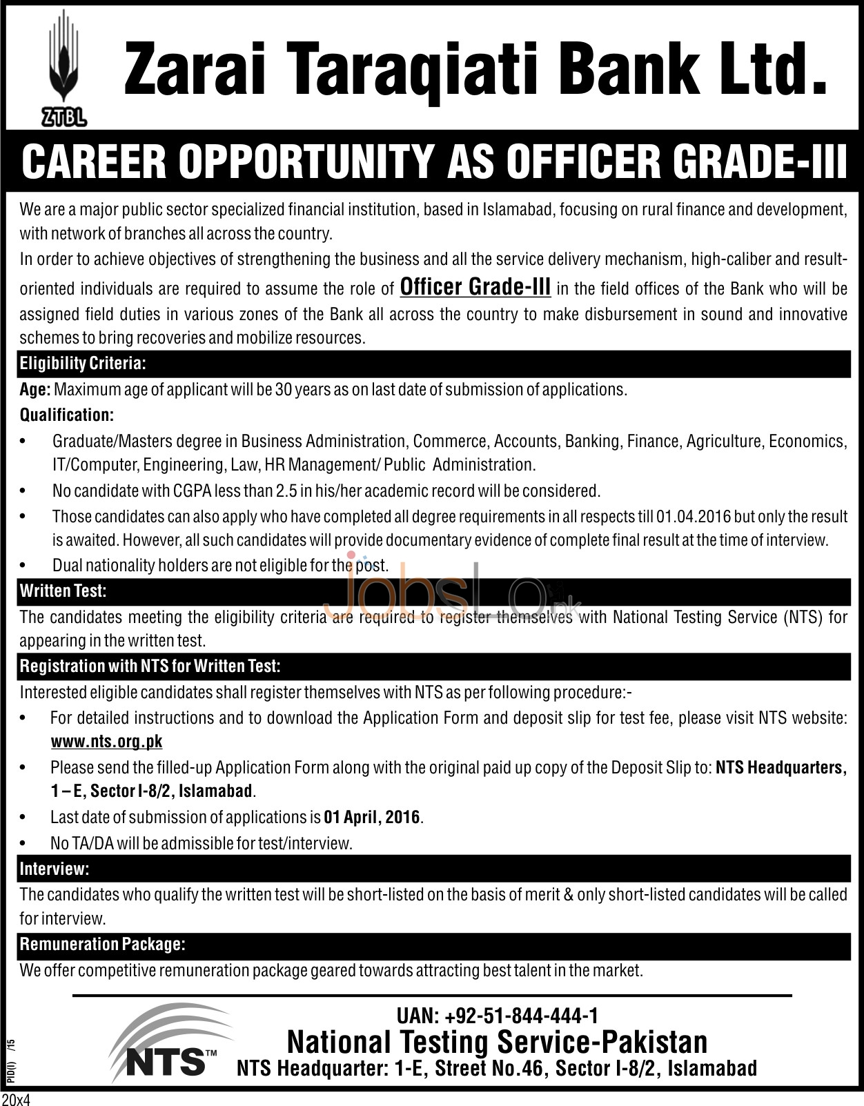 Employment Offers in ZTBL Bank 2016 in Islamabad NTS Application Form Last Date www.nts.org.pk