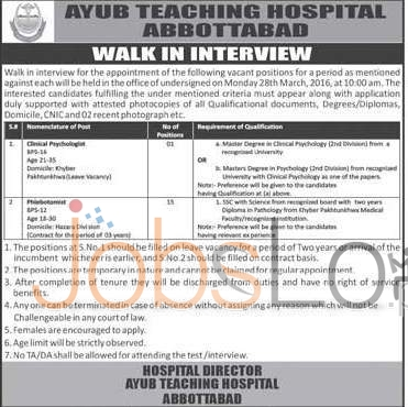 Ayub Teaching Hospital Abbottabad Jobs
