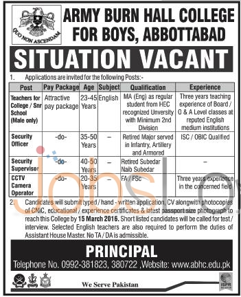 Employment Offers for Teachers, Security Officer Supervisor in Army burn College for Boys 2016