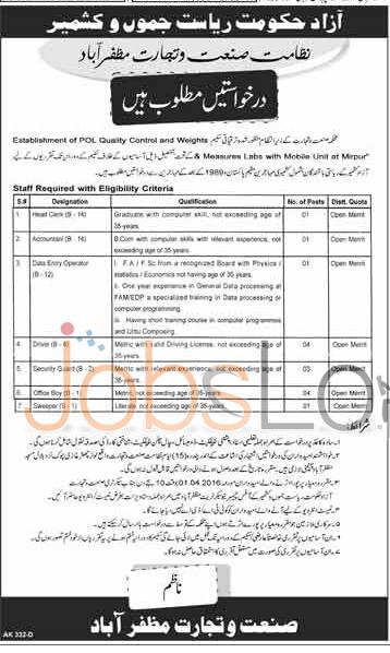 Recruitment Offers in Govt of AJK 12 March 2016 in Muzaffarabad Test & Interview Schedule