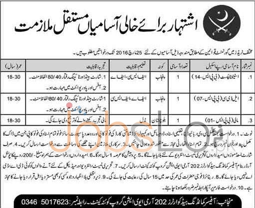 Employment Offers in Pak Army Aviation Quetta 2016 for Stenotypist UDC Eligibility Criteria