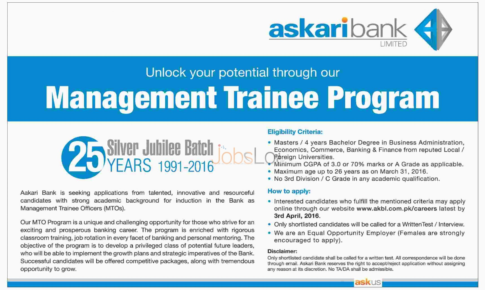 Recruitment Offers in Askari Bank Ltd Jobs 2016 Apply Online For MTO's Eligibility Criteria
