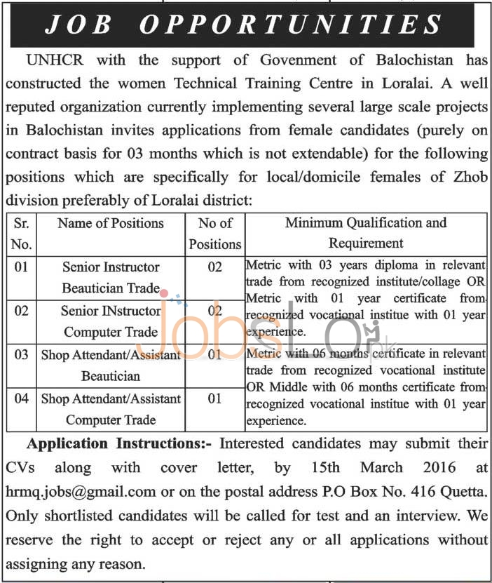 Recruitment Offers in UNHCR Women Technical Training Centre 2016 in Zhob and Loralai District Latest