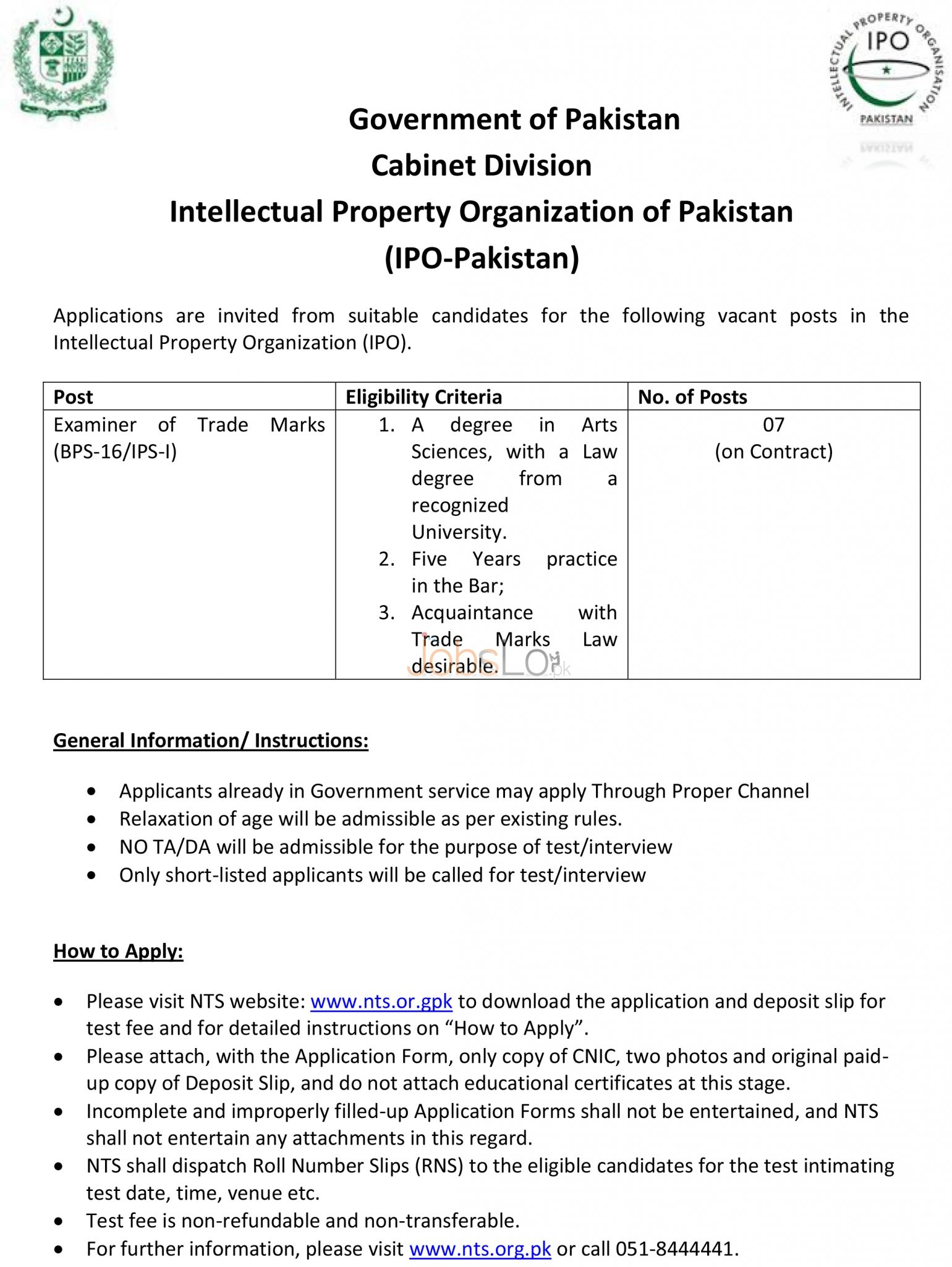 Recruitment Offers in Cabinet Division IPO 2016 in Pakistan NTS Application Form Last Date