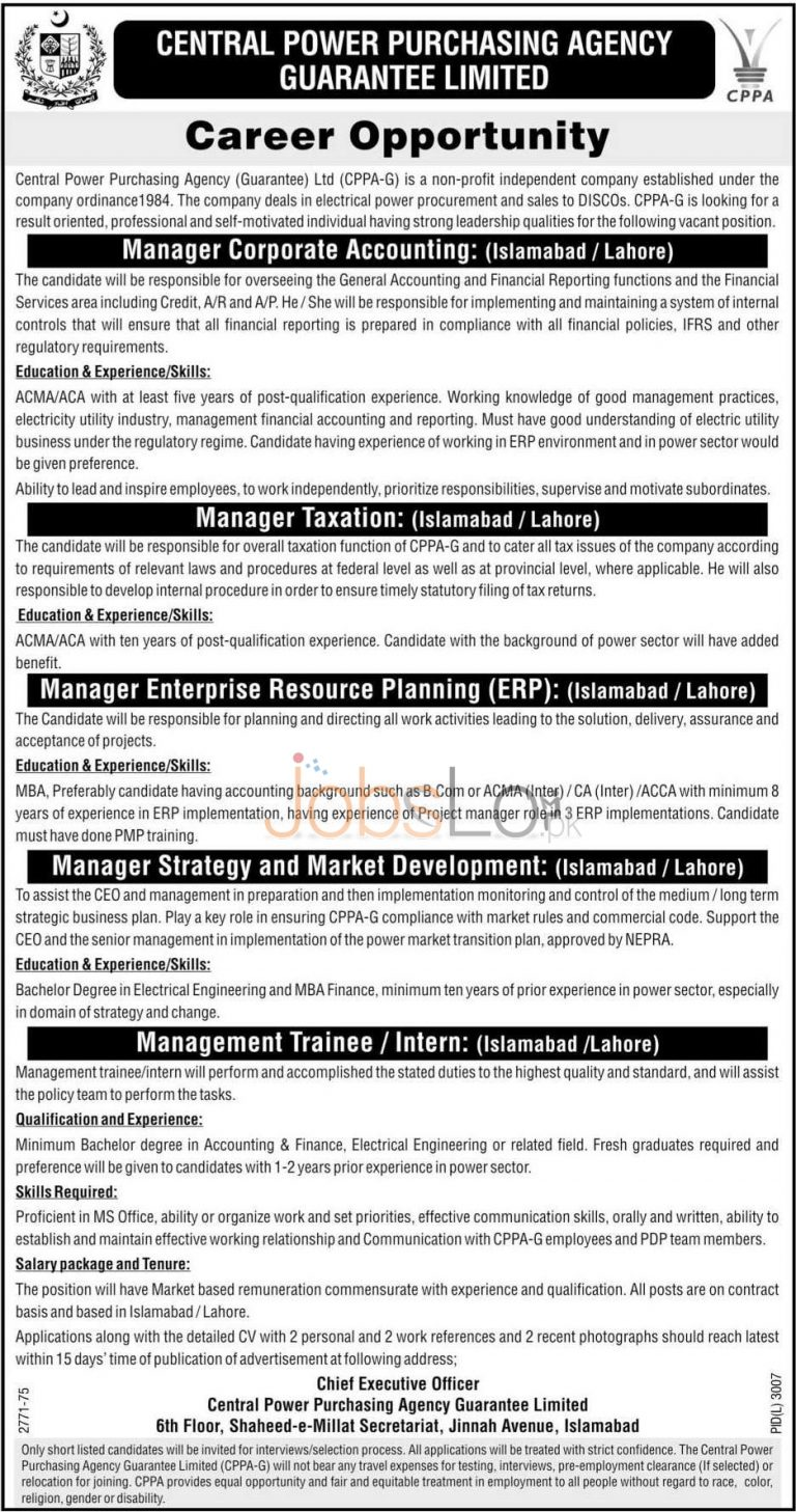 Central Power Purchasing Agency CPPA Jobs 2016 in Islamabad & Lahore Latest