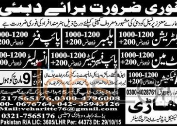 Electrician, Plumber & Pipe Fitter Urgent Jobs in Dubai 2016 Test & Interview