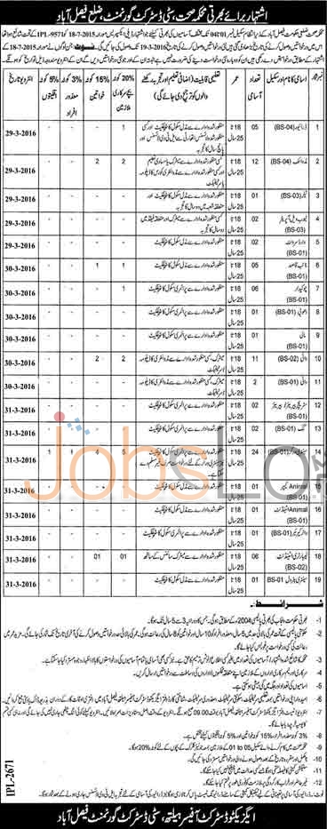 Health Department Faisalabad 10 March 2016 Career Offers