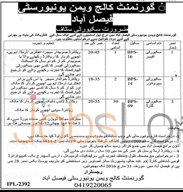 Employment Offers in Govt College Women University 03 March 2016 Faisalabad For Security Staff