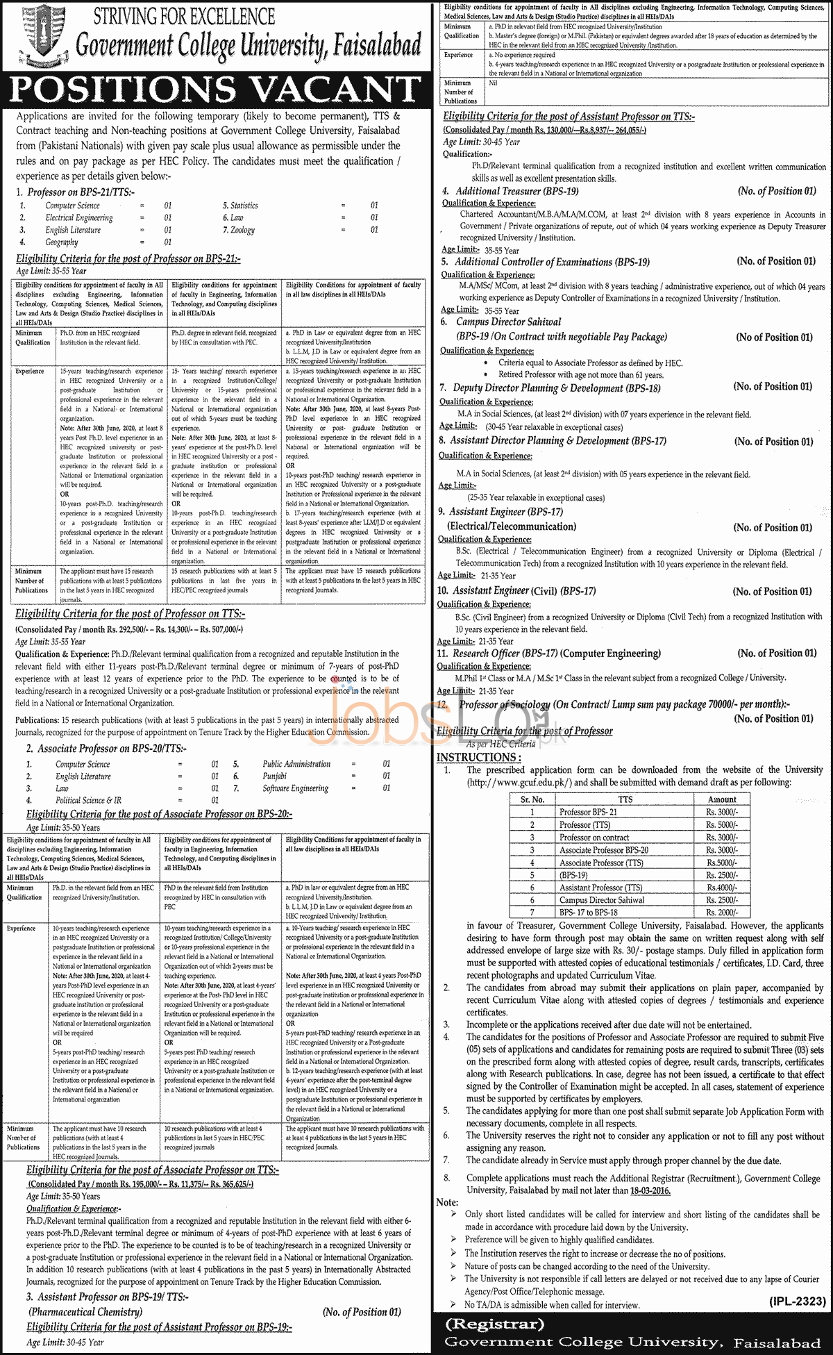 Situations Vacant in Govt College University 03 March 2016 Faisalabad Eligibility Criteria