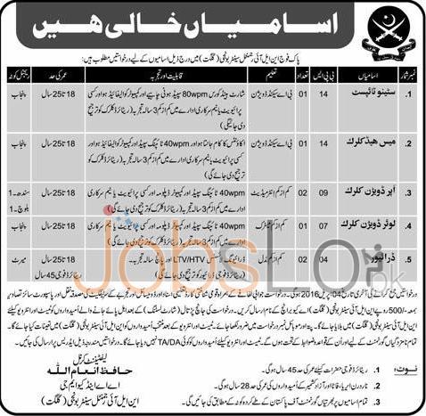 Pakistan Army Gilgit Jobs 2016 For Stenotypist, LDC UDC Latest