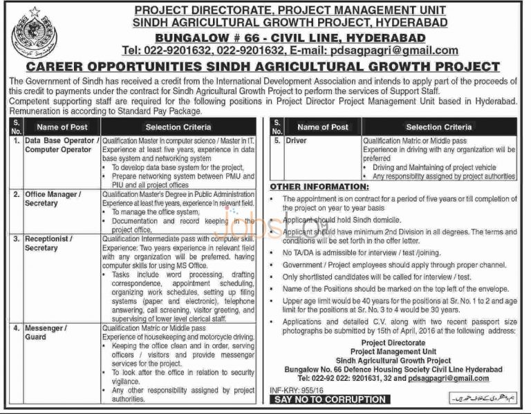 Sindh Agriculture Growth Project Jobs 2016 Hyderabad Staff Required
