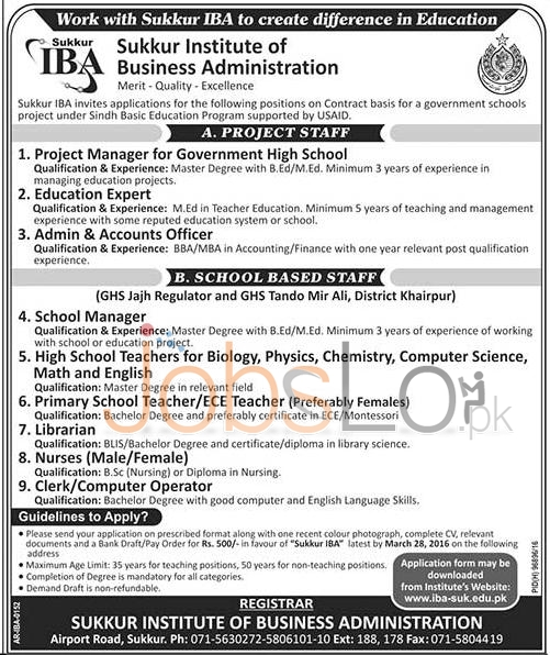 Situations Vacant in Sukkur IBA 18 March 2016 Application Form Last Date