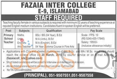 Fazaia Inter College Islamabad Jobs