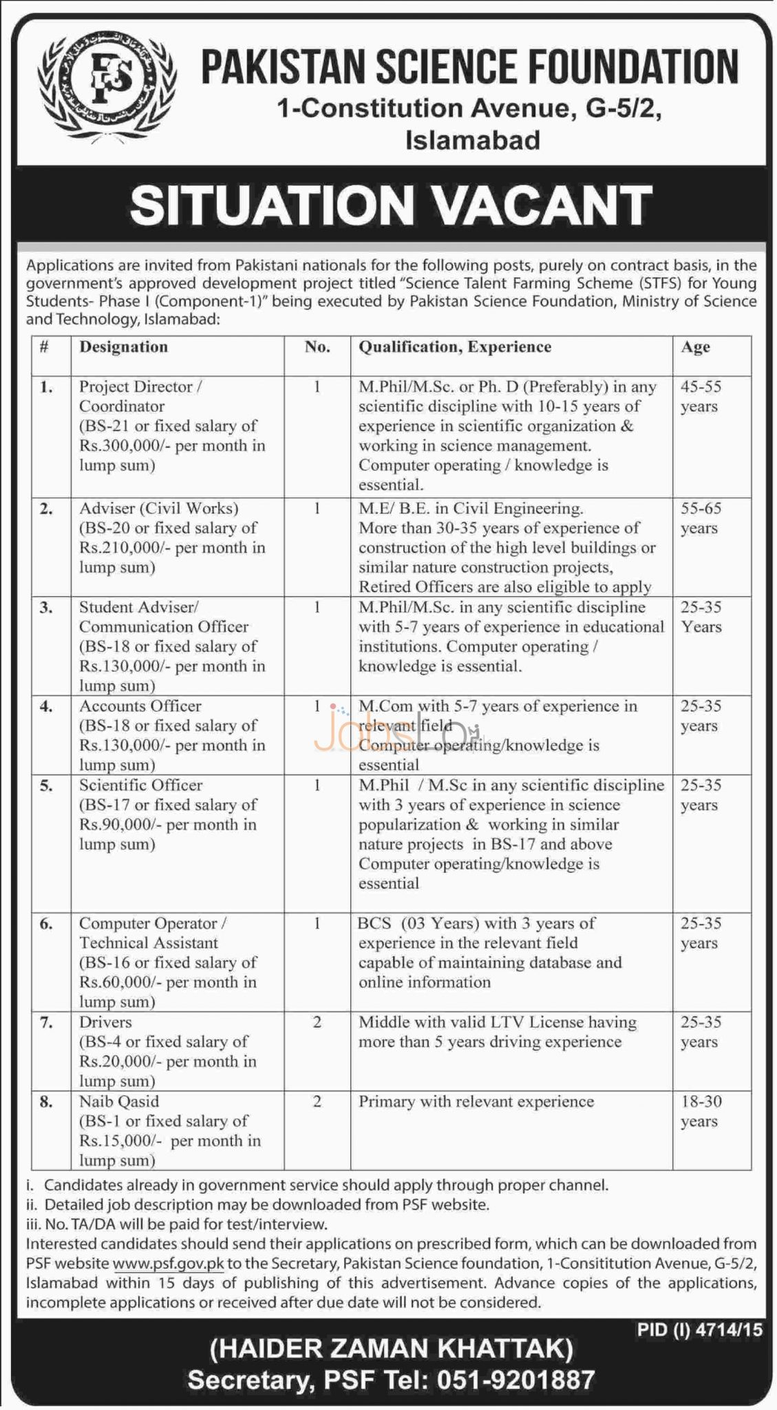 Rceruitment Offers in Pakistan Science Foundation 10 March 2016 in Islamabad For Project Director, Accounts Officer Latest