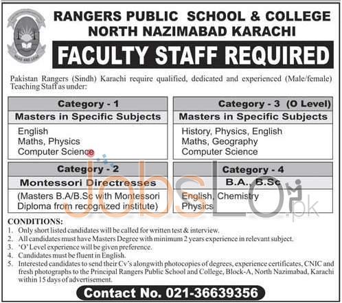 Rangers Public School & College Karachi Jobs