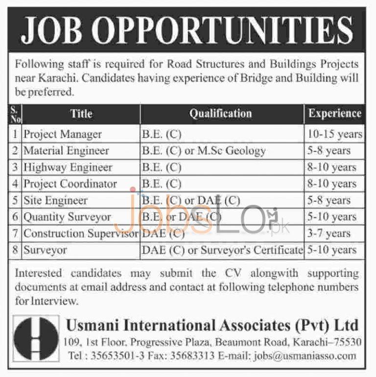 Usmani International Associates Pvt Ltd Karachi Jobs 2016 Latest